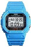 Mens Outdoor Sport Watch Men Digital Watch 5Bar Waterproof Alarm Clock Cowboy Military Watch (Light Blue)