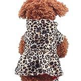 TWBB Ropa Perro Pequeño Invierno, Perro Gato Leopardo Sudaderas con Capucha Vestido Ropa de Invierno para Mascotas Vestido Fleece Sweater Térmico Diseño Cálido y Suave de Moda Puppy Princess Dress