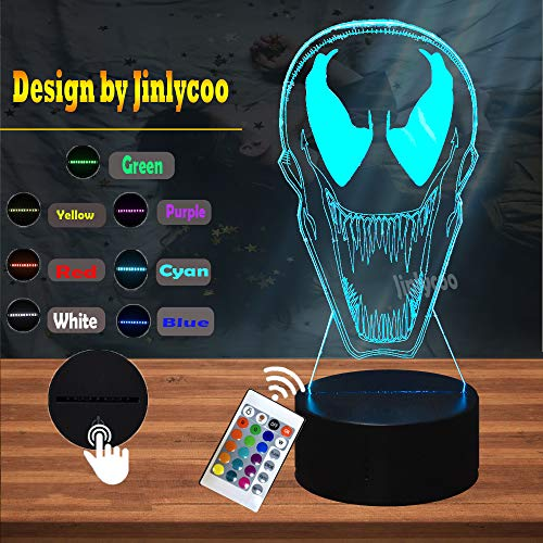 DC Series Venom Face Mark Action Figure Cartoon Night Light for Kid Bedroom 7 Color LED Table Lamp 3D Optical Decor Home Mood Lava Holiday Birthdayt Gift for Movie Fans Teenage Boy Toy…