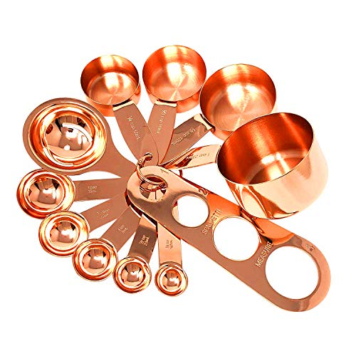 Copper Measuring Cups and Measuring Spoon Set in Rose Gold Stainless Steel Nesting Liquid and Dry Measuring Kitchen Set for Cooking