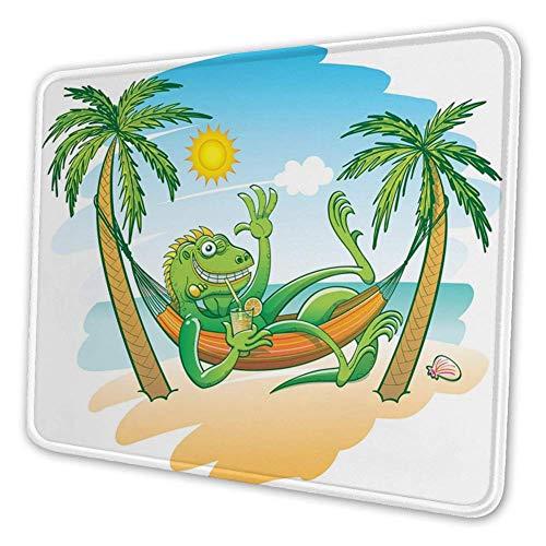 Rechthoekige Mousemat Mousepad, groene Iguana glimlachend Zonnebaden Tropische Vakantie Palmbomen met Hangmat