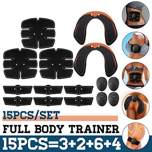 15PCS / Set EMS Entrenador Abdominal Muscular Músculo inalámbrico Inteligente ABS Rodillo Abdominal de Cadera Muscular Abdominal Conjunto de Masaje Pérdida de Peso cinturó Estimulador Abdominal