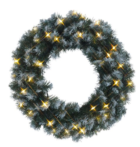 Best Season LED-Tannenkranz mit Schneedecor, beleuchtet circa Durchmesser 50 cm, 40 warmweiß Pisello LED Outdoor, Trafo Karton 612-27