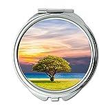Yanteng Spiegel, Schminkspiegel, Strand Wolken Gras, Taschenspiegel, tragbarer Spiegel