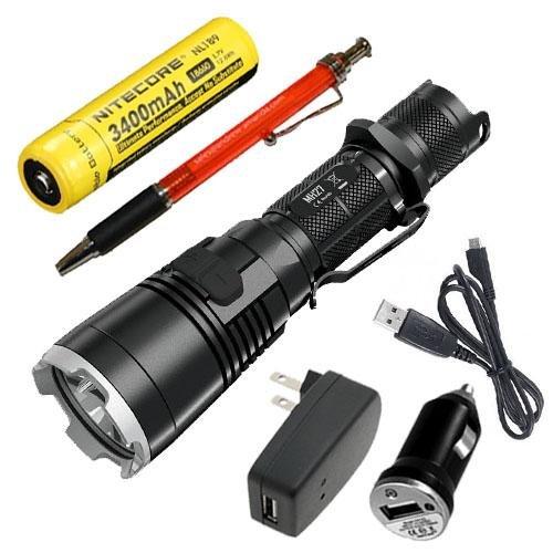 Nitecore MH27 Rechargeable XP-L HI V3 LED Flashlight w/NL189 & USB Adaptors +FREE A&A Pen