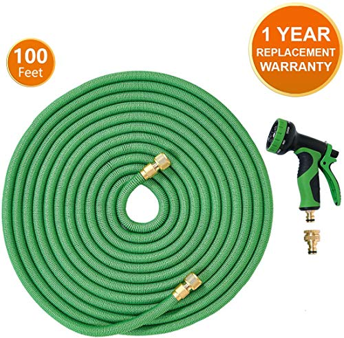 Alittle Garden Hose Pipe Expandable Water Hose 100 Ft/30M with Brass Connectors, 9 Function Spray, Flexible Anti-Kink for Home, Garden, Patio and Car Cleaning