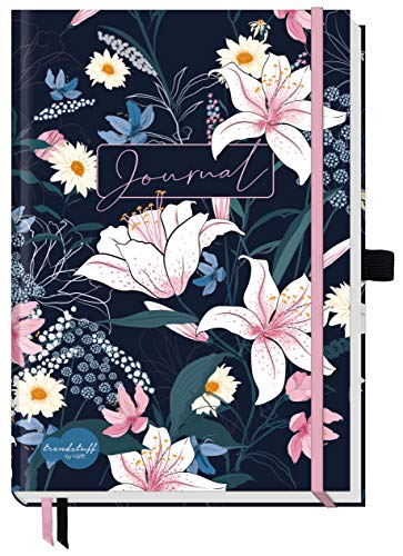 Trendstuff Premium Bullet Journal dotted [Dark Flower] Notizbuch A5 gepunktet | 188 Seiten dickes Papier | Tagebuch mit Punkteraster, Gummiband, Stifthalter | nachhaltig &...
