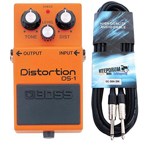 Boss DS-1 Distortion Pedal + Cable para guitarra keepdrum 3 m