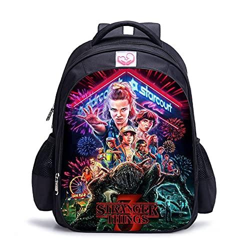 Stranger Things Sac à dos d'école, sac à déjeuner pour étudiant, sac à bandoulière imprimé 3D Stranger Things, 3-1., L,