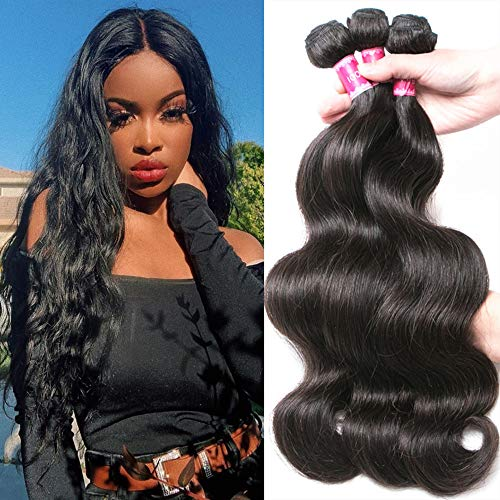 9A Virgin Hair Bundles Sew in Hair Extensions Body Wave Wavy 100% Unprocessed Brazilian Human Hair Weave Hair Weft Extensions for Women #1B Natural Black 300g (16 18 20)