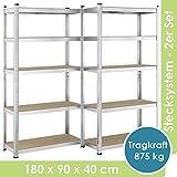 Juskys 2er-Set Lagerregal Basic 2X 180x90x40cm