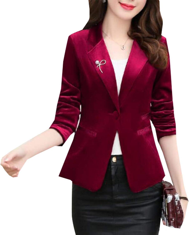Womens Basic One Button Velvet Blazer Stretchy Office Work Jacket