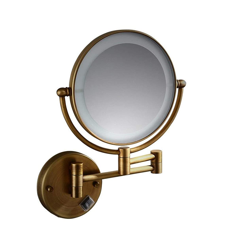 争う勇気のあるレポートを書く壁掛け化粧鏡隠し配線LEDミラー壁掛け望遠鏡8インチ美容ミラー両面3X拡大鏡(色:真鍮、サイズ:8インチ3 Xプラグタイプ)