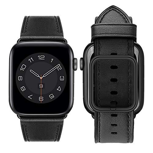 MroTech Correa Compatible con iWatch 42mm 44mm Banda de Reloj Cuero Piel Genuina Pulseras de Repuesto para iWatch Serie 6/SE/5/4/3/2/1 42/44 mm Watch Band Reemplazo Negro Loop Hebilla Cuadrada Negro