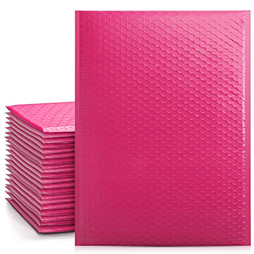 Metronic 25Pcs Poly Bubble Mailers,10.5X16 Inch Envelopes Padded Bulk #5, Bubble Envelopes Lined Wrap Polymailer Bags for Shipping/ Packaging/ Mailing Self Seal Pink