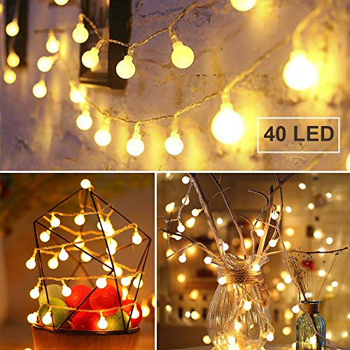 GREEMPIRE String Lights, 14.8ft 40 LED Globe String Lights Battery Powered Waterproof Starry Light Fairy Light for Bedroom Patio Garden Christmas Tree Wedding Party (Warm White, 8 Modes)