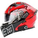 *TKer *Bluetooth Integrat Casc de Moto Modular de cara Completa abatible amb Doble Visera per a Homes i Dones Adults, Certificació *ECE,Rojo,M