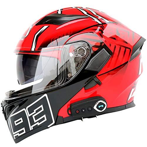 TKer Bluetooth Integrado Casco de Moto Modular de Cara Completa abatible con Doble Visera para Hombres y Mujeres Adultos, Certificación ECE,Rojo,M