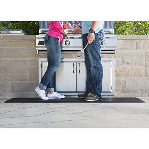 """NewLife by GelPro Anti-Fatigue Nonslip 1/2"""" Thick Hard Floor Utility Mat for Garage, Patio and Kitchen, 20"""" x 72"""", Leather Grain Black"""