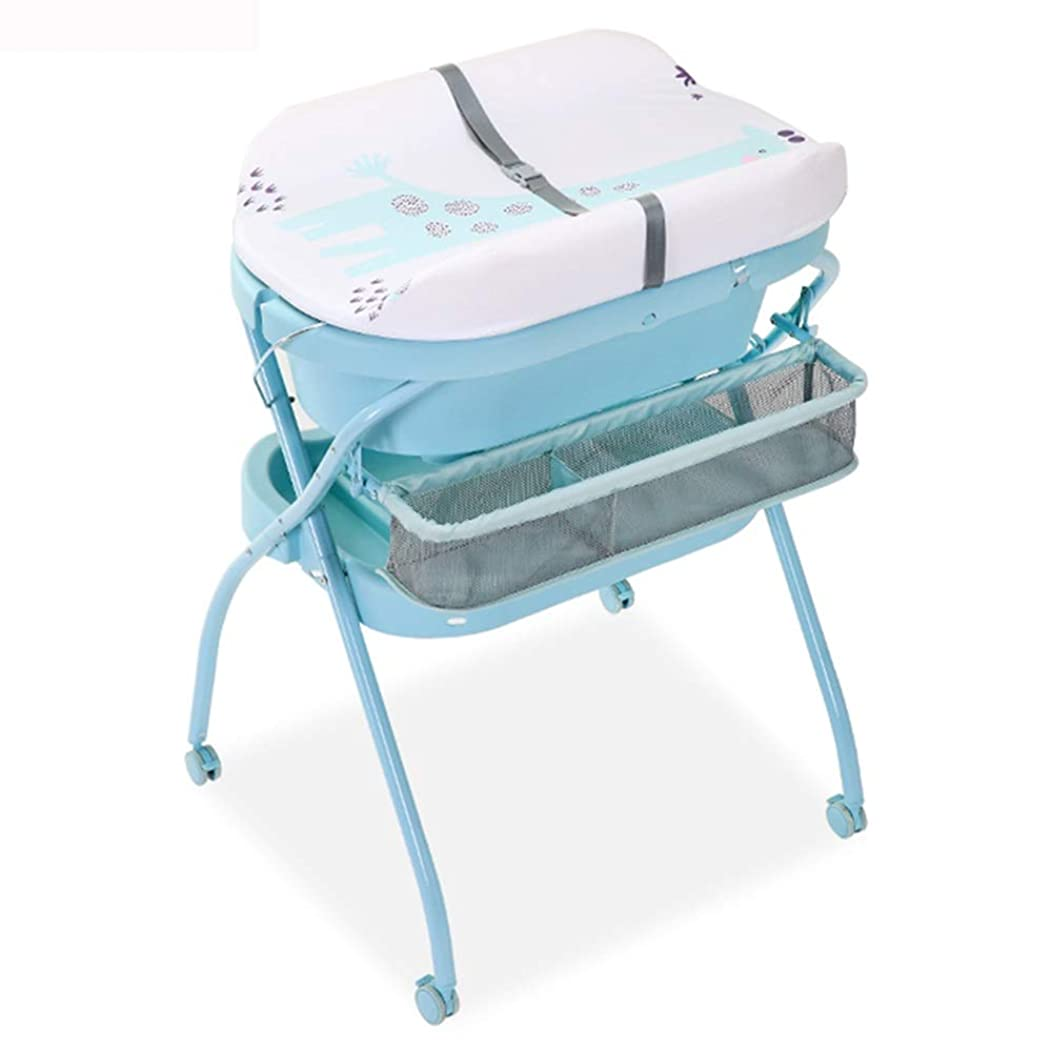 HANSHAN Diaper Changing Tables Changing Table,Baby Care Table Shower Table Neonatal Massage Touch Table Foldable Sky Blue 0-2 Years Old 30 × 26 × 40inch