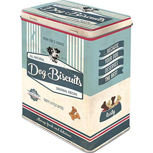 Nostalgic-Art Retro Vorratsdose L PfotenSchild Dog Biscuits – Geschenk-Idee für Hunde-Besitzer, Große Blech-Dose für Leckerlis, 3 l