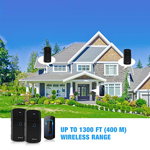 Wireless Doorbell, NOVETE 1300ft Long Range Door Chime, IP55 Waterproof Electric Cordless Doorbell, 1 Push Button and 2 Plug-in Receivers with LED Flash, 52 Melodies, 5 Volume Levels
