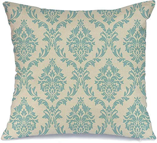 Decoración Throw Pillow Cover Funda de cojín Patrón de damasco real Texturas ornamentadas Vintage Barroco Pared Riqueza Retro Antiguo Clásico Curva antigua Funda de Cojine 45 X 45CM