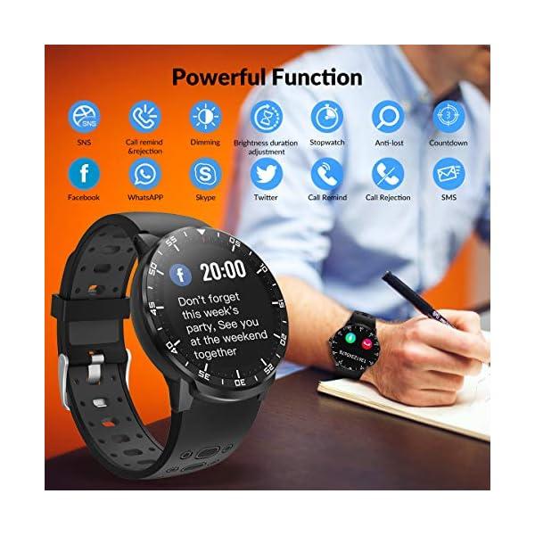 HopoFit Smartwatch Reloj Inteligente, HF06 Pantalla Táctil Completa Circular Impermeable Podómetro Pulsómetros, Monitor… 6
