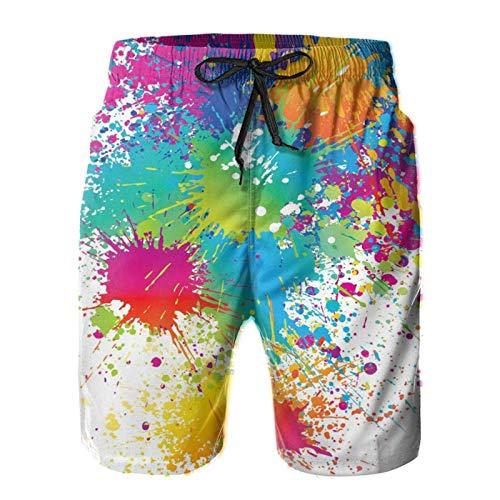 Olverz Bañador con pintura colorida, pantalones cortos de playa ligeros para hombres con bolsillos, trajes de baño casuales