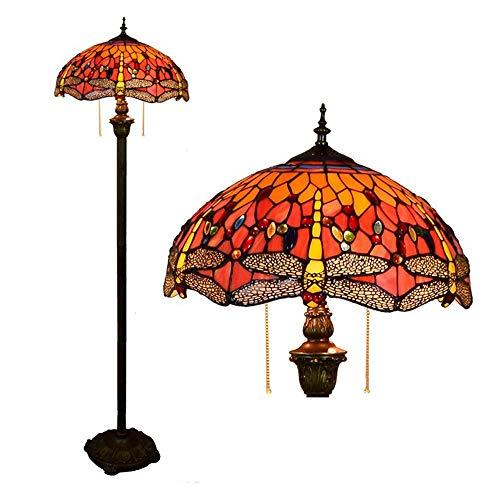 Gelbe Libelle Tiffany Stehlampe 2 leuchtet rot Glas stehen Stehlampe Innenbeleuchtung dekorative Lampe 40 * 162cm