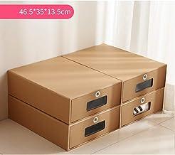 ALXDR 4PCS Cajas De Zapatos De Cartón para Botas Apilables, Caja De Almacenamiento De Papel Kraft De Doble Capa con Ventanas Transparentes