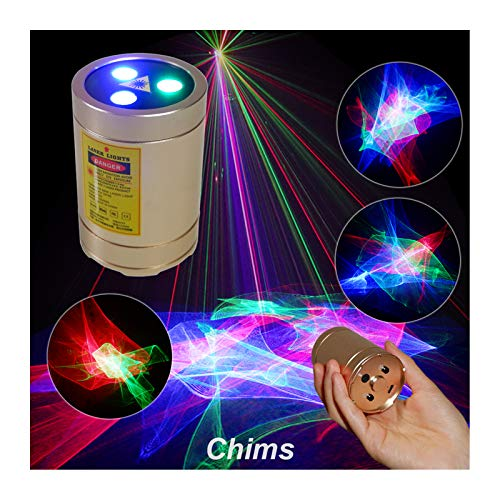 Chims DJ Lights, Rechargeable Mini Laser Lights RGB Aurora Lighting Projector Home Disco Party Laser Light Show Portable Cordless Music Activated Lights for House Stage DJ Dance Car Garden Holiday