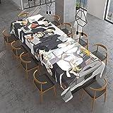 Mantel rectangular de tela de mesa a prueba de derrames, mantel decorativo para uso en interiores e interiores