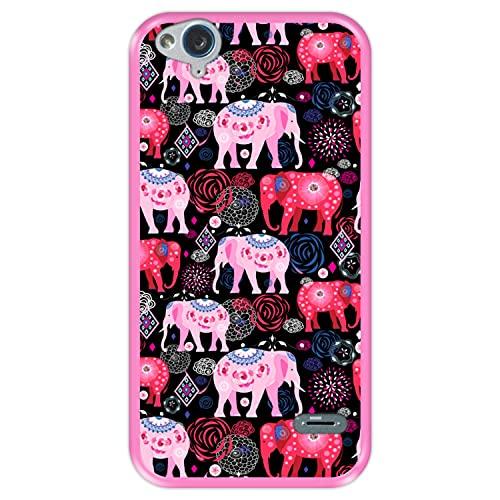 Hapdey silikon Hülle für [ ZTE Blade S6 Flex ] Design [ Helles Muster von rosa & roten schönen Elefanten ] Rosa Flexibles TPU