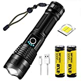 Rechargeable Flashlight with 2x 18650 Battery Button Top 3000mah, XHP50 Super Bright Flashlights,Power Display,5 Modes,Waterproof,Zoomable Handheld Torch Light for Camping Outdoor Emergency