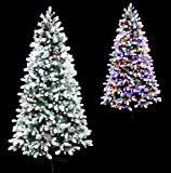 6' Frosted Winter Spruce Flocked Christmas Tree Pre-lit with Dual Color LED Lights