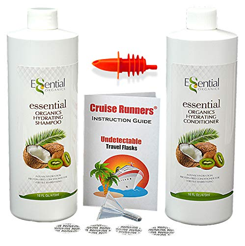 CRUISE RUNNERS Fake Shampoo & Conditioner Drinking Flask Kit Plastic Bottles Hidden Liquor Smuggle Alcohol For Booze Cruises, Dorm Rooms, Hotels Enjoy Rum Runners / Travel Cruise Accessories Must Have