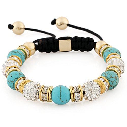 Morella® Damen Armband Steinperlen und Zirkonia Strass verstellbar Gold - türkis