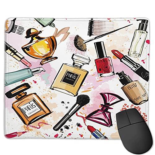GEHIYPA Alfombrilla de ratón,Colección de cosméticos y perfumes de acuarel, Base de Goma Antideslizante Alfombrilla de ratón para Juegos Alfombrilla Decoración de Escritorio 9.5'x7.9