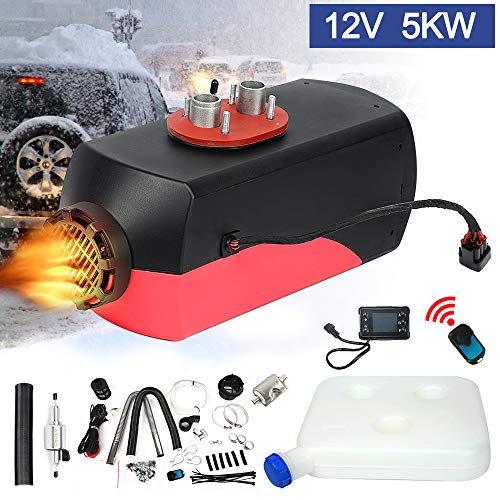 Triclicks Calentador de Aire Diesel, Calentador de Coche 5KW 12V, Furgonetas de calefacción de vehículos con Monitor LCD para Furgonetas, Camiones, remolques de automóviles, Barcos (red-01)