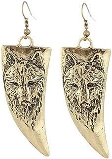 Therecoe86 Earrings&Jewelry,Men\'s Women\'s Retro Horn-shaped Wolf Head Pattern Earrings Hook Jewelry Gift - Bronze
