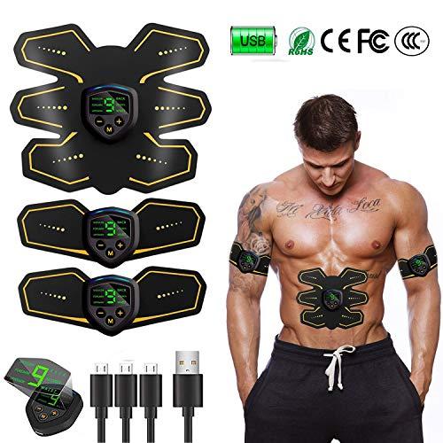 YzyH Elettrostimolatore per Addominali, Elettrostimolatore Muscolare Professionale per Braccio/Gambe/Glutei, EMS con USB Ricaricabile, 6 modalità e 9 Livelli di Intensità