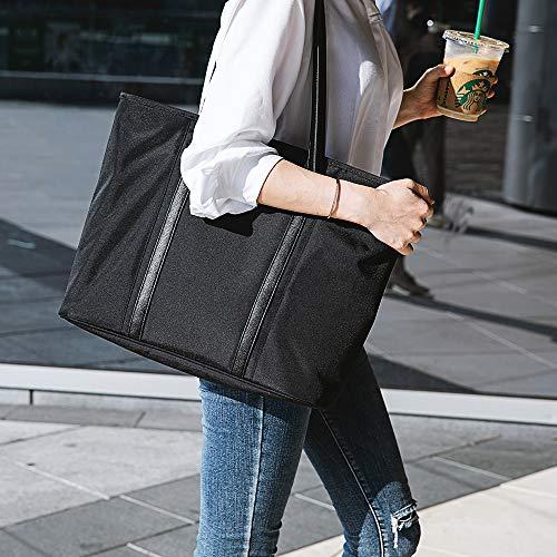 tomtoc Laptop Tote Tasche für bis zu 16 Zoll MacBook Pro 2019, Leichte Wasserabweisende Frauen Schultertasche Stilvolle Handtasche für Business Arbeit College Reisen Party Shop, Schwarz