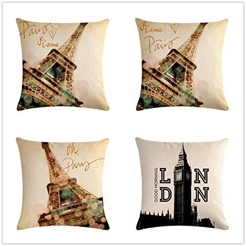 KYLong Funda de Almohada Abrazo de Lino_Paris Serie Almohada
