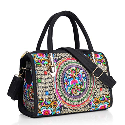 """This embroidery handbag for women is made of super dense canvas material with the multicoloured embroidery exterior and lined with cotton cloth interior Dimension: 11""""L x 4""""W* 9.4""""H, lightweight women handbag only one pounds, the straps of crossbody ..."""
