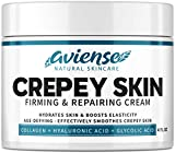 Crepey Skin Treatment - Sagging Skin Tightening for Body & Face - Made in USA - Neck & Decollete Anti-Wrinkle Chest Cream - Anti-Aging & Firming Cream with Glycolic Acid, Collagen & Hyaluronic Acid
