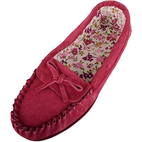 SNUGRUGS Damen Mokassins / Hausschuhe aus weichem Wildleder mit schönem Baumwollfutter, Rot - purpurrot - Größe: 41 EU-8 UK