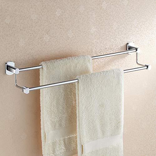 Toallero de baño montado en la pared Toallero de acero inoxidable 304 barra doble revestimiento multicapa adecuado para baño baño cocina-55 cm [varilla de latón]
