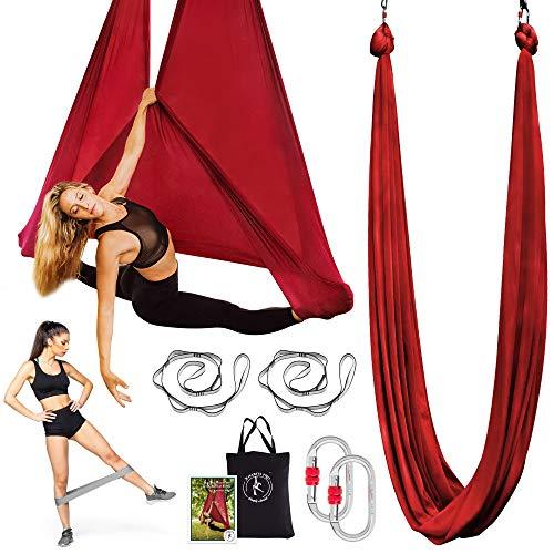 Premium Aerial Yoga Hammock - Aerial Yoga Swing Set - Antigravity Aerial Silks - Flying Yoga Sling Inversion Equipment - Hardware Included, Resistance Band, Manual and Tote Bag (Burgundy)