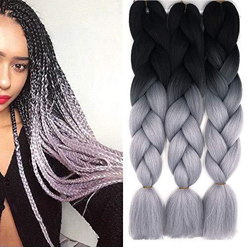 Treccine Extension Capelli Sintetici per Treccine Africane 3 Ciocche Trecce Jumbo Braiding Hair Kanekalon (Nero&Grigio argento)